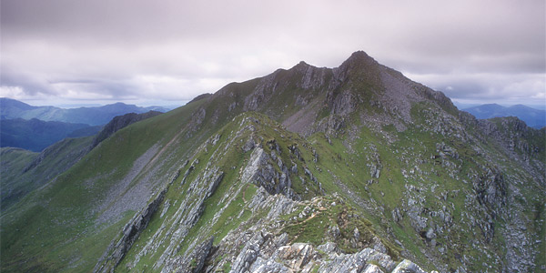 Looking west along the Forcan Ridge to The Saddle, from Sgurr na Forcan.