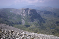 Coire a'Mhadaidh and Na Tuadhan, from the summit of Ben More Assynt.