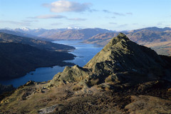 Looking west from the summit of Ben An over Loch Katrine to the Arrochar Alps.