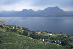 Looking over Upper Loch Torridon at Inveralligin, to Sgurr na Bana Mhoraire and Beinn Damh.